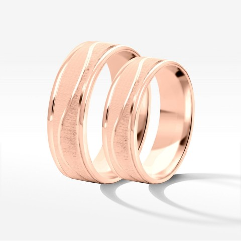 Obrączki ślubne z różowego złota 6mm płaskie
