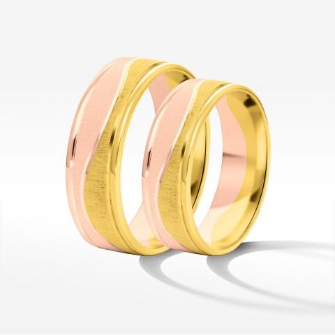 Obrączki ślubne z żółto-różowego złota 6mm płaskie