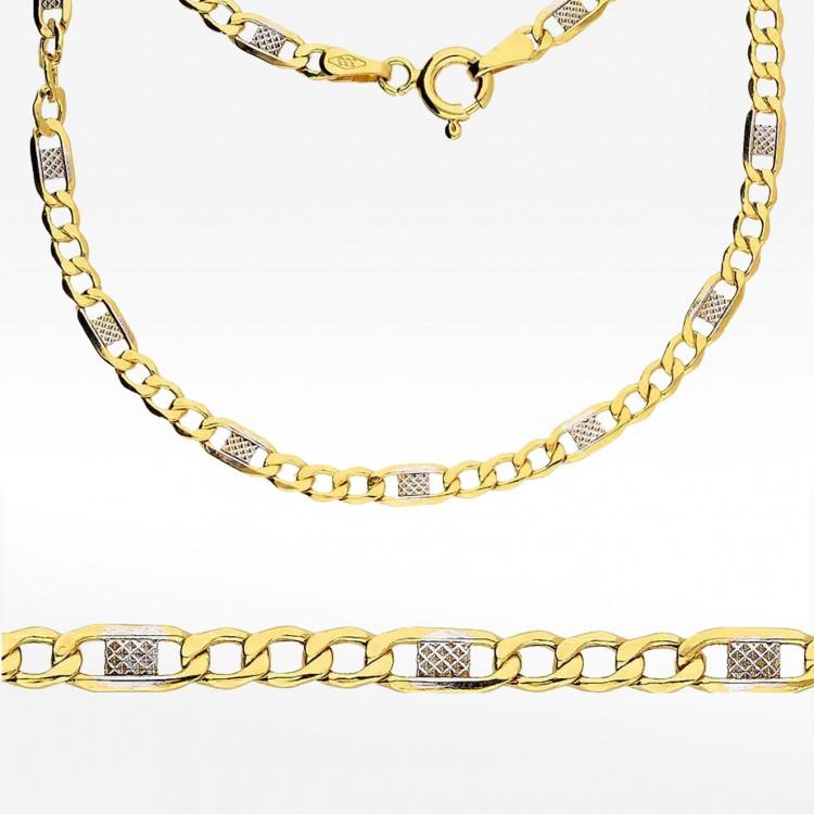 Złoty łańcuszek dwukolorowy 45cm splot Figaro