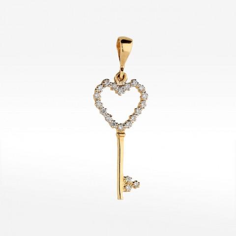Złota zawieszka klucz z sercem i kamieniami