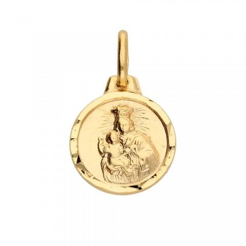 Okrągła złota zawieszka Matki Boskiej