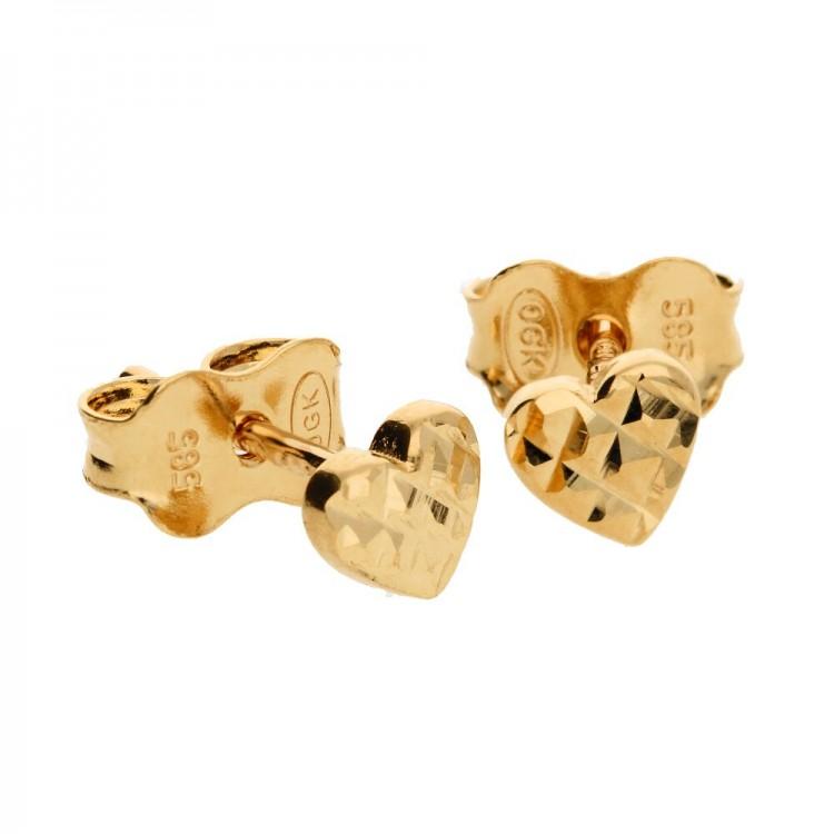 Wyjątkowe złote kolczyki w kształcie serc