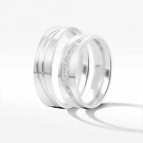 Obrączki ślubne z białego złota 5.5mm płaskie