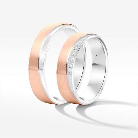 Obrączki ślubne z różowo-białego złota 5mm płaskie