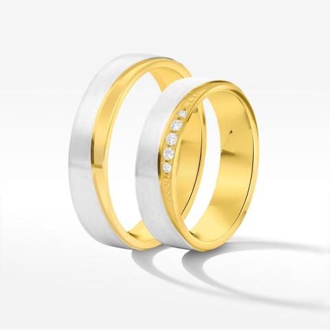 Obrączki ślubne z biało-żółtego złota 5mm płaskie
