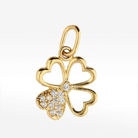 Złota zawieszka w kształcie koniczyny