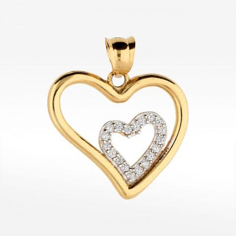 Złota zawieszka podwójne serce