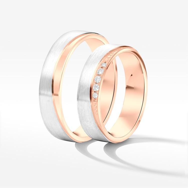 Obrączki ślubne z biało-różowego złota 5mm płaskie