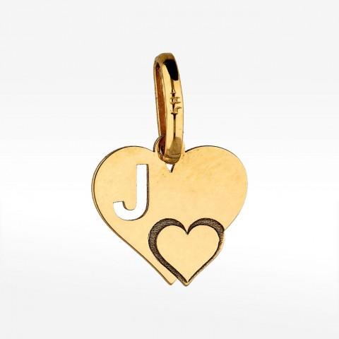Złota literka J z serduszkiem