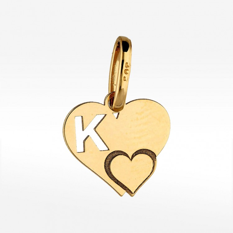 Złota literka K z serduszkiem