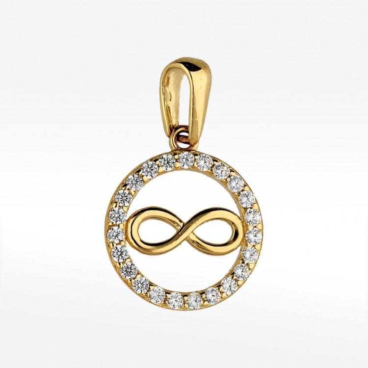 Złota zawieszka symbol nieskończoności