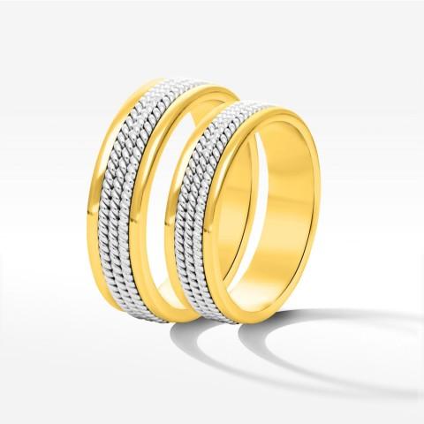 Obrączki ślubne z żółto-białego złota 5mm płaskie