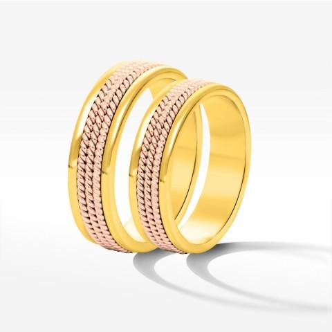 Obrączki ślubne z żółto-różowego złota 5mm płaskie