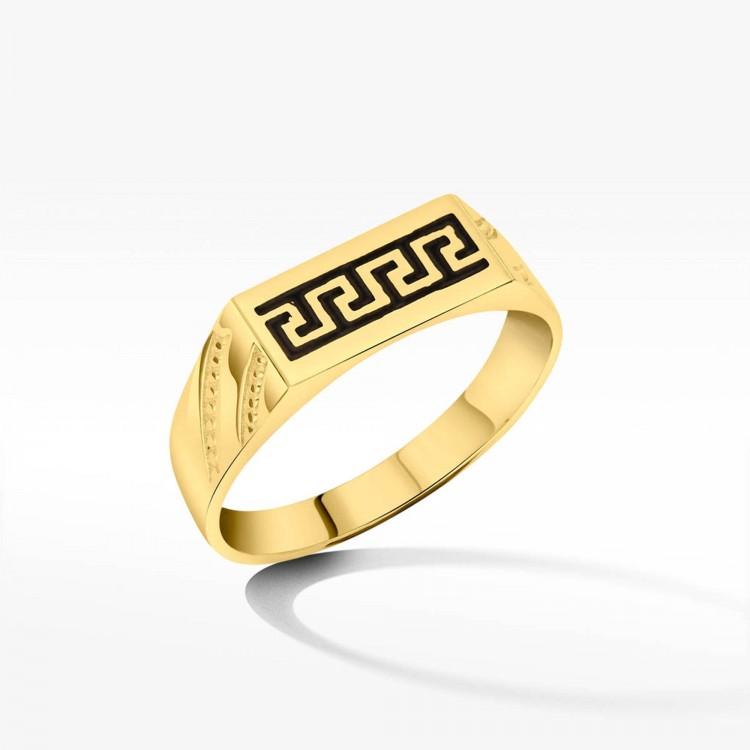 Złoty sygnet motyw grecki onyks