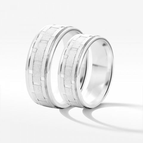 Obrączki ślubne z białego złota 6.5mm płaskie