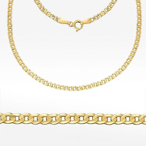 Złoty łańcuszek 55cm pancerka pełna