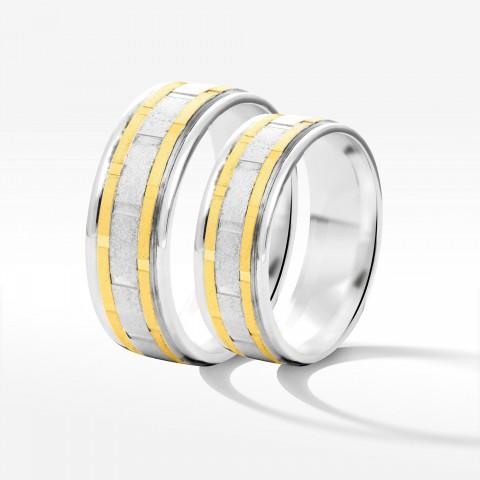 Obrączki ślubne z żółto-białego złota 6.5mm płaskie