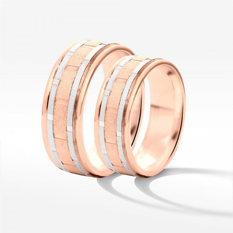 Obrączki ślubne z biało-różowego złota 6.5mm płaskie