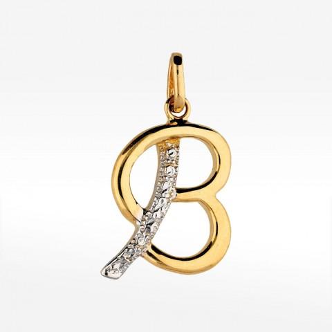 Złota literka B z cyrkoniami