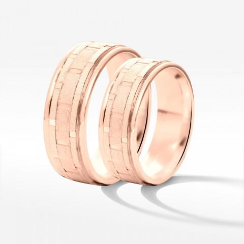 Obrączki ślubne z różowego złota 6.5mm płaskie