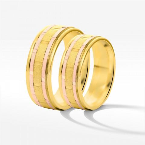 Obrączki ślubne z żółto-różowego złota 6.5mm płaskie