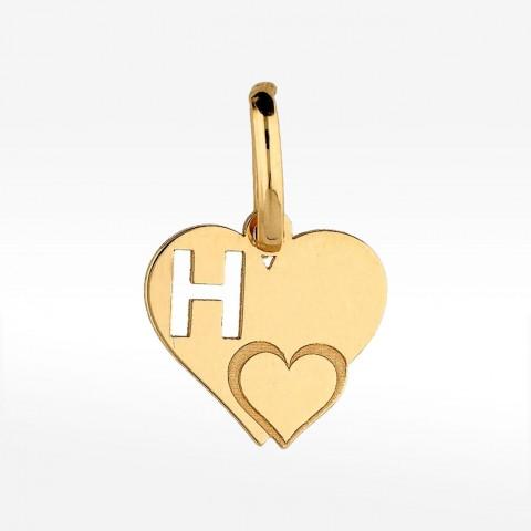 Złota zawieszka literka H w serduszku