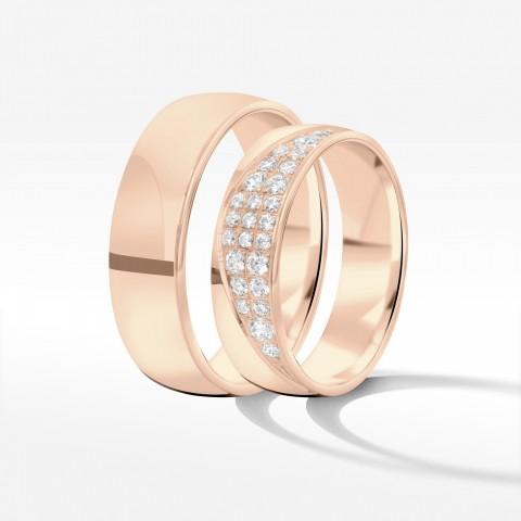 Obrączki ślubne z różowego złota 5.5m półokrągłe