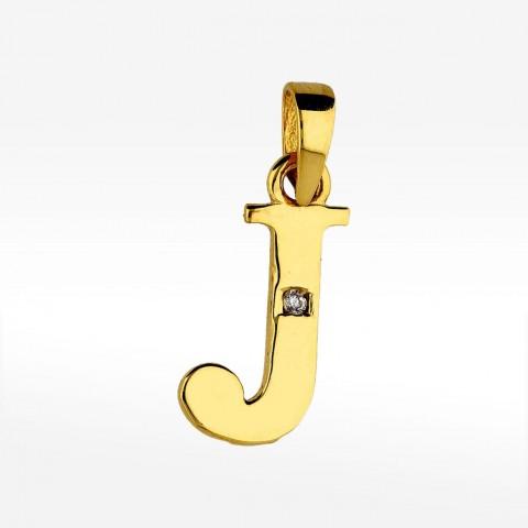 Złota literka J z cyrkonią