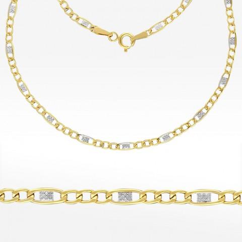 Dwukolorowy złoty łańcuszek 45cm splot Figaro