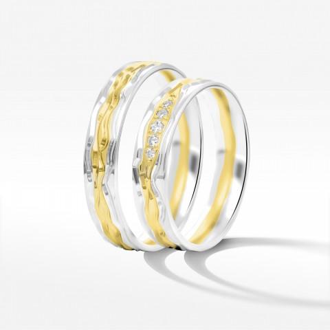 Obrączki ślubne z biało żółtego złota 5mm półokrągłe