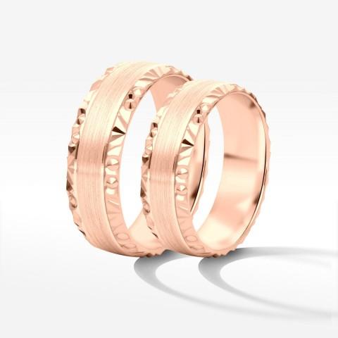 Obrączki ślubne z różowego złota 6mm półokrągłe