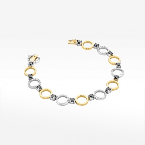Bransoletka z dwukolorowego złota z brylantami