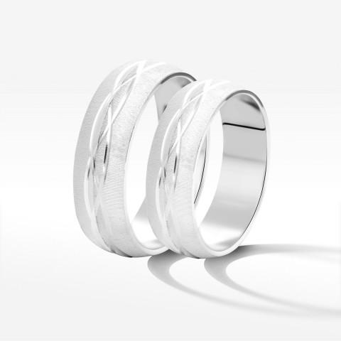 Obrączki ślubne z białego złota 5.7mm półokrągłe