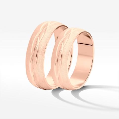 Obrączki ślubne z różowego  złota 5.7mm półokrągłe