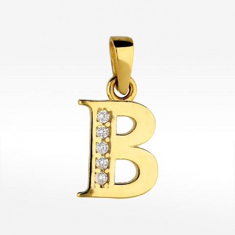 Złota zawieszka literka B