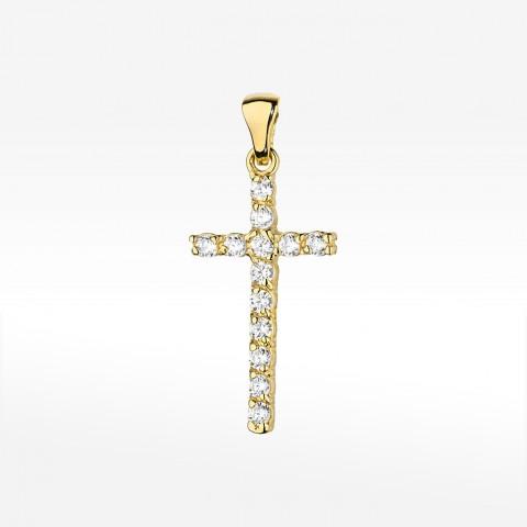 Złota zawieszka krzyżyk z brylantami