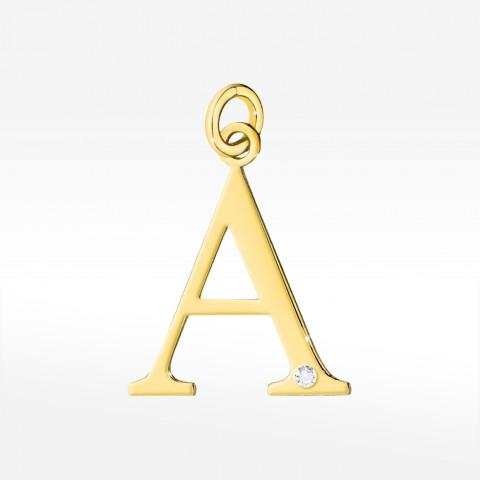 Złota zawieszka literka A z