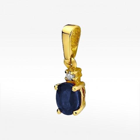 Zawieszka ze złota z szafirem i brylantem