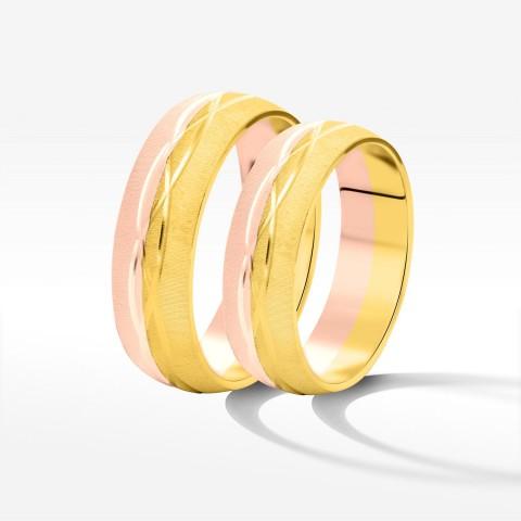 Obrączki ślubne z dwukolorowego złota 5.7mm półokrągłe