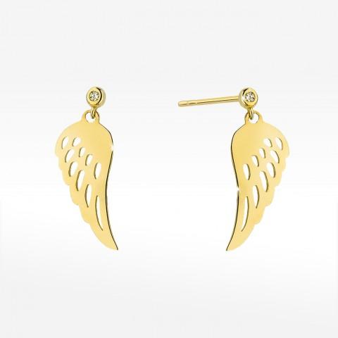 Złote kolczyki skrzydła z brylantem