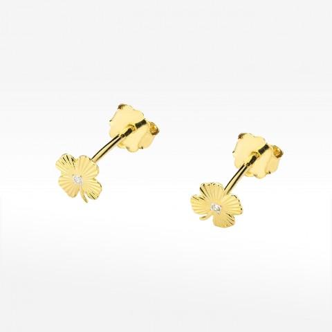 Złote kolczyki koniczynki z brylantem