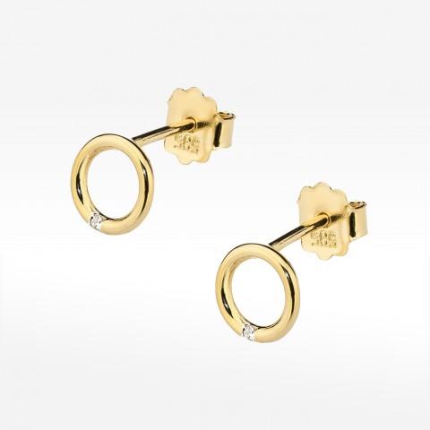 Złote kolczyki z brylantem