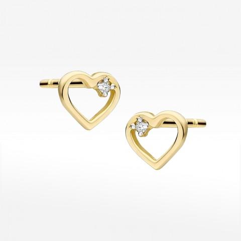 Złote kolczyki serca z brylantem