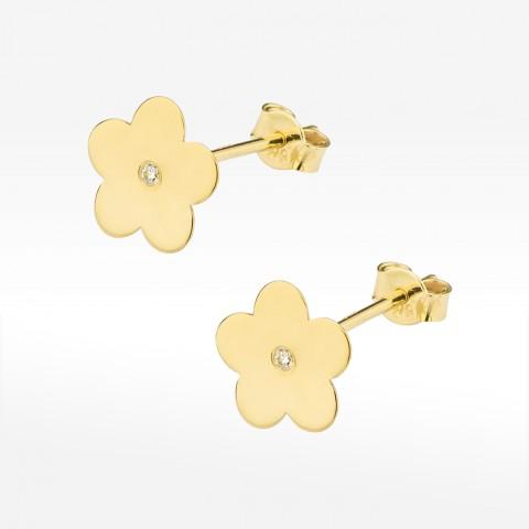 Złote kolczyki kwiatki z brylantem