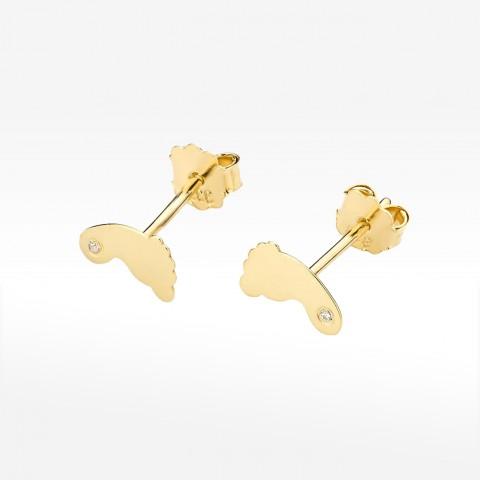 Złote kolczyki stópki z brylantem