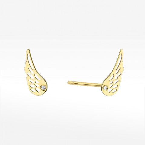 Złote kolczyki skrzydełka z brylantem
