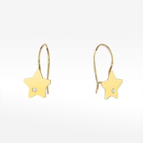 Złote kolczyki gwiazdka z brylantem