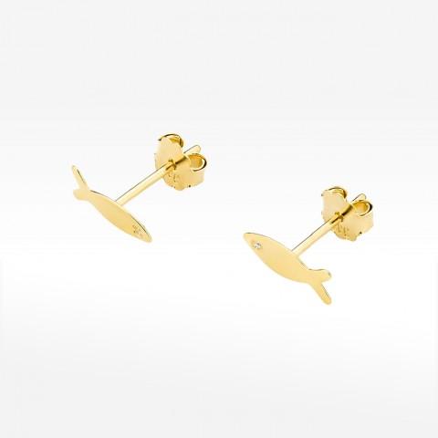 Złote kolczyki rybki z brylantem