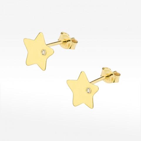 Złote kolczyki gwiazdki z brylantem