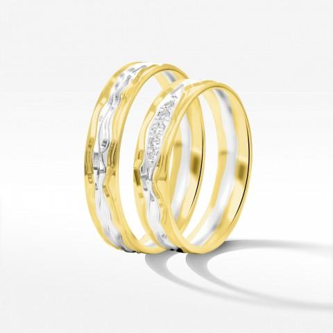 Obrączki ślubne z żółto białego złota 5mm półokrągłe